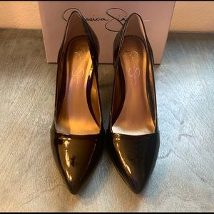 Black Patent Leather Heels, Size 8.5